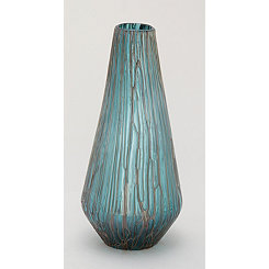 Teal Teardrop Glass Vase, 18 in.