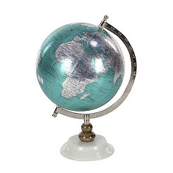 Cyan and Silver Globe with White Marble Base