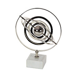Armillary Aluminum Silver Sphere on White Base