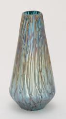 Teal Teardrop Glass Vase, 14 in.