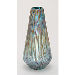 Teal Teardrop Glass Vase, 14 in.