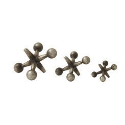 Distressed Silver Finish Jack Sculptures, Set of 3