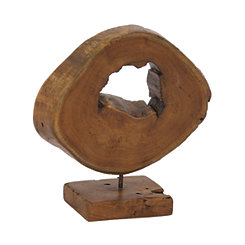 Teak Wood Slice Oval Sculpture on Stand