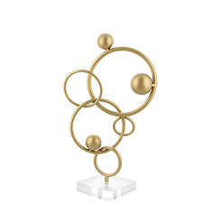 Abstract Gold Rings and Acrylic Spheres Sculpture