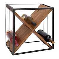 Metal and Wood X Frame 9-Bottle Wine Holder