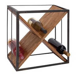 Metal and Wood X Frame 9-Bottle Wine Holder