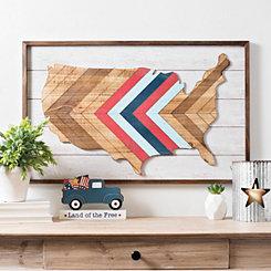 Chevron Striped Wooden America Plaque