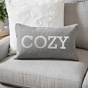 Cozy Gray and Silver Accent Pillow