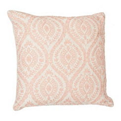 Blush Chainstitch Embroidered Pillow