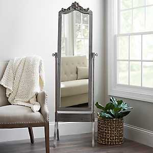 Ornate Carved Distressed Gray Wash Cheval Mirror