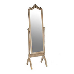 Ornate Carved Top Distressed Natural Cheval Mirror
