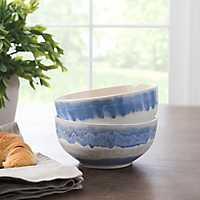 Pastel Blue Reactive Ceramic Bowls, Set of 2