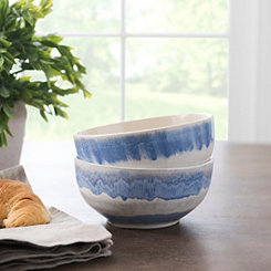 Pastel Blue Reactive Ceramic Bowls, Set of 2