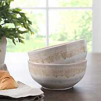 Pastel Taupe Reactive Ceramic Bowls, Set of 2