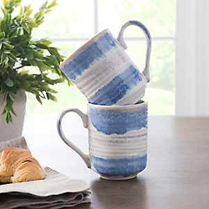 Pastel Blue Reactive Ceramic Mugs, Set of 2