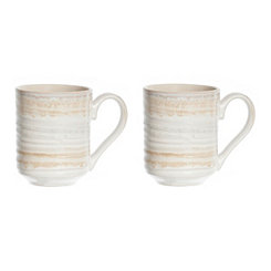 Pastel Taupe Reactive Ceramic Mugs, Set of 2