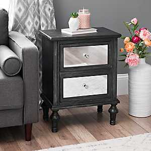 Black Washed Mirrored 2-Drawer Side Table