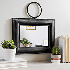 Small Square Framed Hanging Wall Mirror with Ring