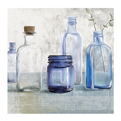 Blue Bottles Canvas Art Print