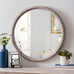 Round Natural Beaded Wall Mirror