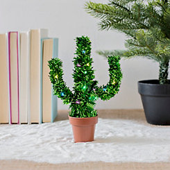 Deck Your Desk Pre-Lit Holiday Cactus