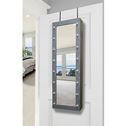 Gray Marquee Jewelry Armoire Mirror