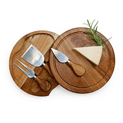 Round Acacia Cheese Board Set