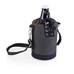 Growler with Dark Brown Canvas Insulated Tote
