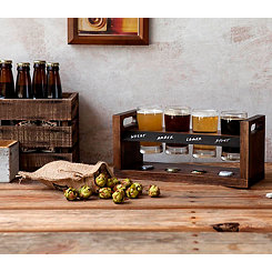 Beer Flight Wood Tray with Four 4 Oz. Glasses