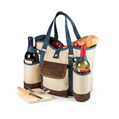 Tan Wine & Cheese Insulated Tote Picnic Set