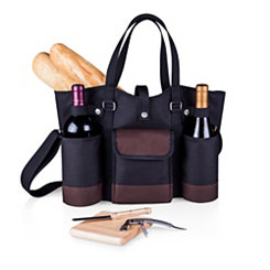 Black Wine & Cheese Insulated Tote Picnic Set