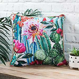 Floral Succulent Pillow with Jute Cord Trim