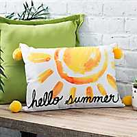Yellow Poms Hello Summer Pillow