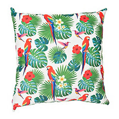 Parrot and Palm Leaf Pillow