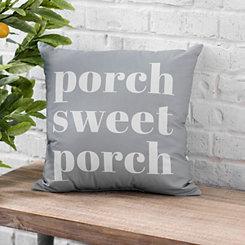 Gray Porch Sweet Porch Outdoor Pillow