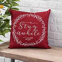 Red Stay Awhile Pillow
