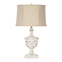 Amelia Distressed Cream Urn Table Lamp