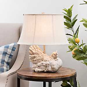 White Washed Rooster Table Lamp