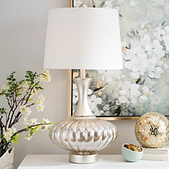 Mercury Glass and Wood Table Lamp