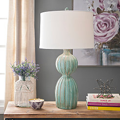 Weathered Spa Blue Poole Table Lamp