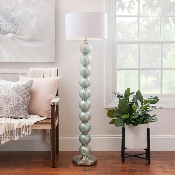 Blue Mercury Glass Orb Floor Lamp