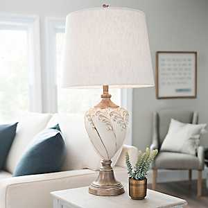 Cream and Brown Leona Scroll Table Lamp