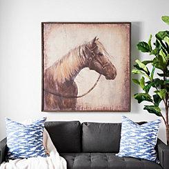 Sepia Horse Framed Canvas Art Print