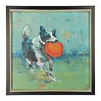 Dog with Frisbee Framed Art Print