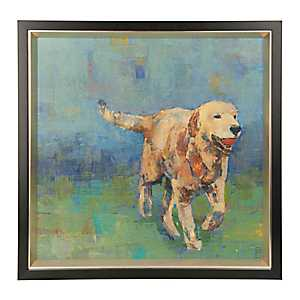 Golden Dog with Ball Framed Art Print