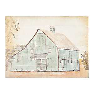 Blue Barn Wood Panel Art Print