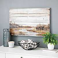 Rustic Landscape Wood Panel Art Print