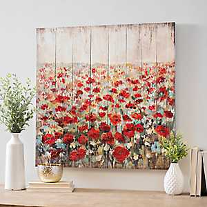 Poppy Field Wood Panel Art Print