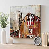 Red Barn Paneled Wood Art Print
