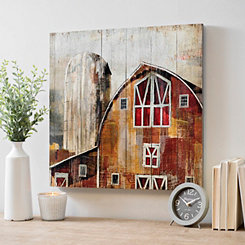 Red Barn Paneled Wood Art Print